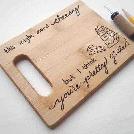 wood burning cutting board